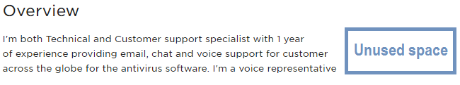Bad formatting of an Upwork profile's Overview section