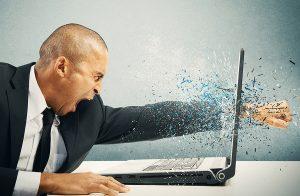 Smash laptop, angry man