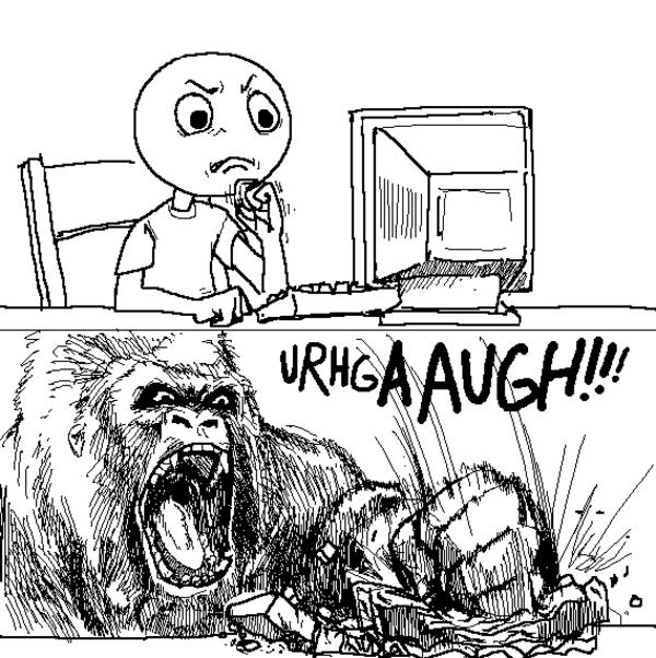computer smashed by gorilla, gorilla meme