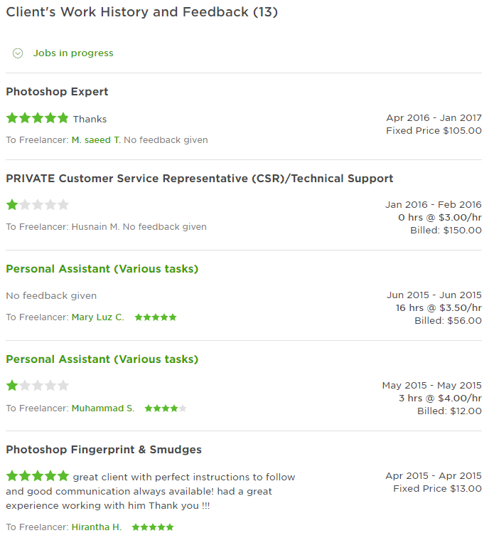 Upwork client with bad rating or feedback